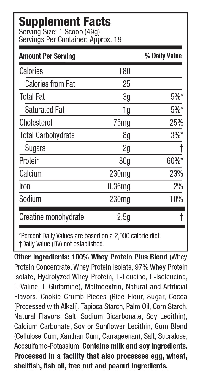 Supplement Facts - 100% Whey Protein Plus - Cookies and Cream